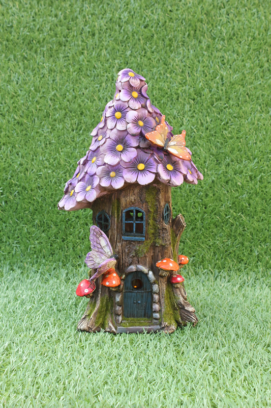 Purple Daisy Fairy House