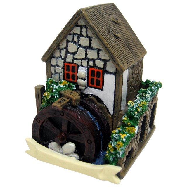 Miniature White House With Waterwheel